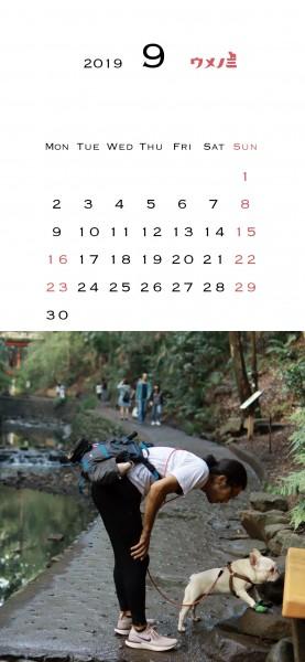 スマホこうめさんカレンダー2019.9
