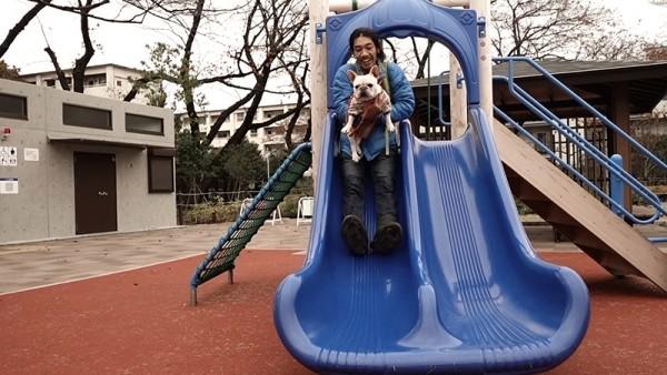フレンチブルドッグこうめさんと上用賀公園